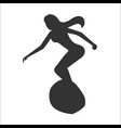 silhouette of surfer woman vector image vector image