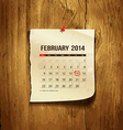 Calendar February 2014 vector image vector image