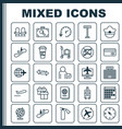 travel icons set collection of armchair airplane vector image