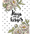 Stylish love poster with peonies Vintage lettering vector image