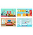 living room kitchen bedroom stylish bathroom vector image