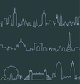 New York Paris and London Profile Lines vector image