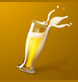realistic 3d beer glass splashing foam vector image