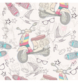 Seamless pattern with shoes retro scooter vector image