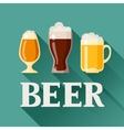 Background design with beer glass mug and goblet vector image