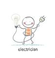 electrician holding a light bulb vector image vector image
