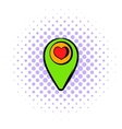 Map pointer with heart icon comics style vector image