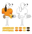 cartoon dog playing American football vector image