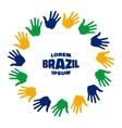 Fifteen hand print logo using Brazil flag colors vector image