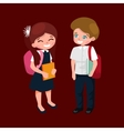 little girl and boy with school backpack and books vector image