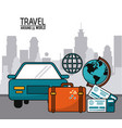 travel around the world with car globe suitcase vector image