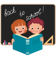 Children at school reading a book vector image