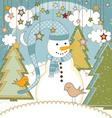 A cute Christmas card with a snowman vector image