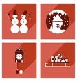 Set of flat web icons with long shadow Christmas vector image