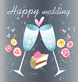 glasses of champagne wedding card vector image