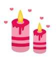 Romantic candles with hearts icon flat design vector image