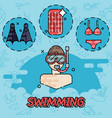 swimming flat concept vector image