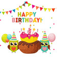 Cute Owl Happy Birthday Background with Balloons vector image vector image