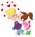 girl kiss boy vector image vector image