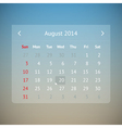 Calendar page for August 2014 vector image