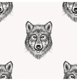 Sketch realistic face Wolf seamless pattern Hand vector image