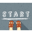 Child begin way standing on the start vector image