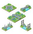 bridges and roads icons set isometric view vector image
