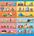 different types of toys on the shelves vector image
