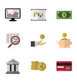 flat icon gain set of cash diagram chart and vector image