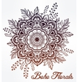 Hand drawn ornate flower in the crown of leaves vector image