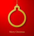 Christmas gold ball applique on red background vector image