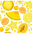 Seamless pattern of yellow fruits and berries vector image vector image
