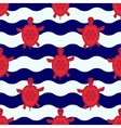 Seamless nautical pattern with little red turtles vector image