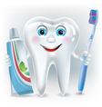 Funny tooth with toothpaste and toothbrush vector image