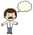 cartoon mustache man with open arms with thought vector image