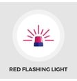 Red flashing emergency light icon flat vector image