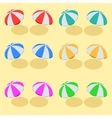Beach Umbrella set Beach set symbols of sun vector image