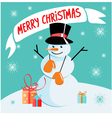 Christmas background with snowman vector image