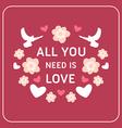Decorative Floral Frame on Pink Background Happy vector image