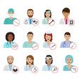 different doctors avatar face portraits hospital vector image