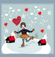 girl skating at the rink in front of the houses vector image