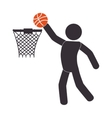 Silhouette human playing basketball vector image