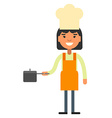 Woman cook chef with a sausepan in hand vector image