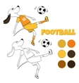 The ridiculous comical dog plays soccer The vector image