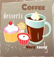 coffee and desserts vector image vector image