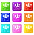 laboratory flasks icons 9 set vector image