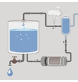 Infographics scheme with a liquid a water tank vector image