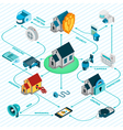 Security System Isometric Flowchart vector image