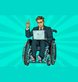 businessman in wheelchair with laptop vector image