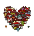City of love heart shape sketch for your design vector image